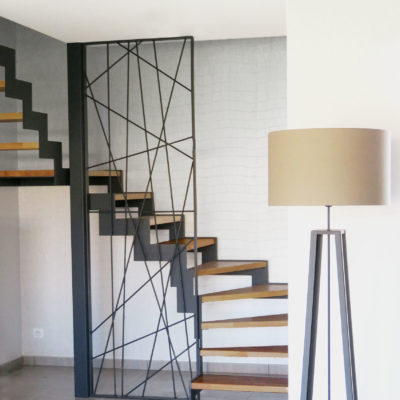escalier limon crémaillère bois métal