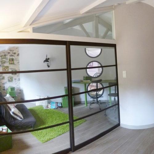 2- porte vitrée - ancien et moderne- charpente apparente
