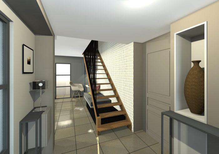 3D Entrée - papier peint graphique - escalier bois et métal