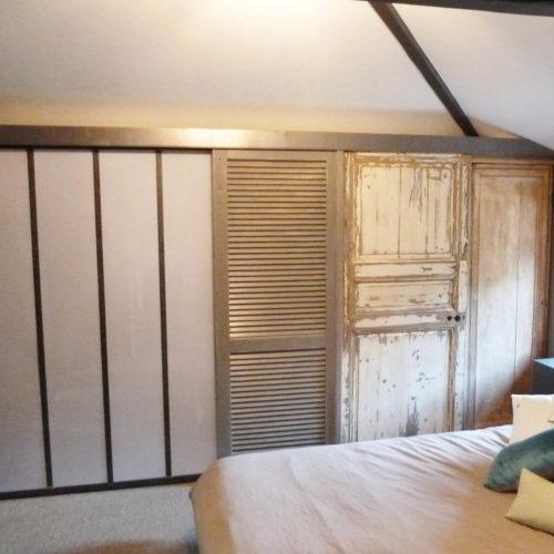 3- portes placard patchwork- récup - deuxième vie- charme- chambres