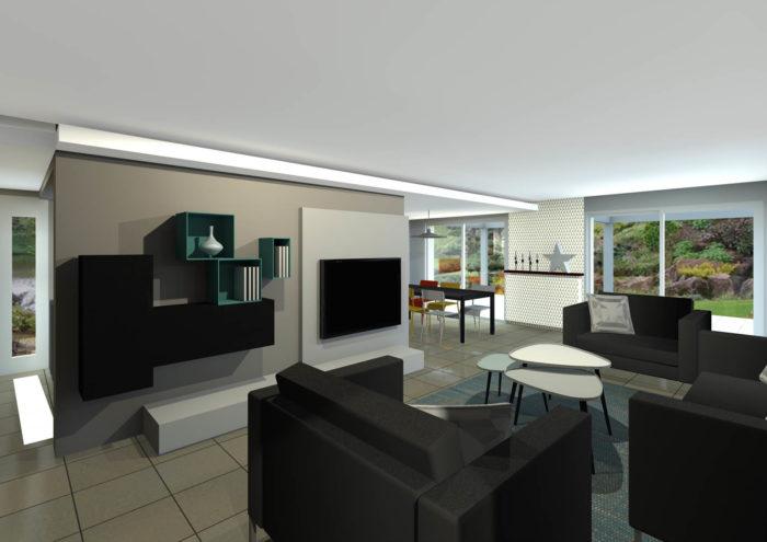 salon design- meuble TV sur mesure- décaissé de plafond