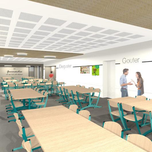 3D mise en ambiance restaurant scolaire Coron