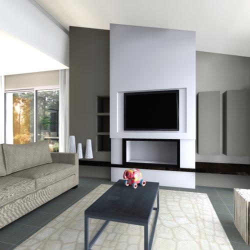 cheminée verticale design