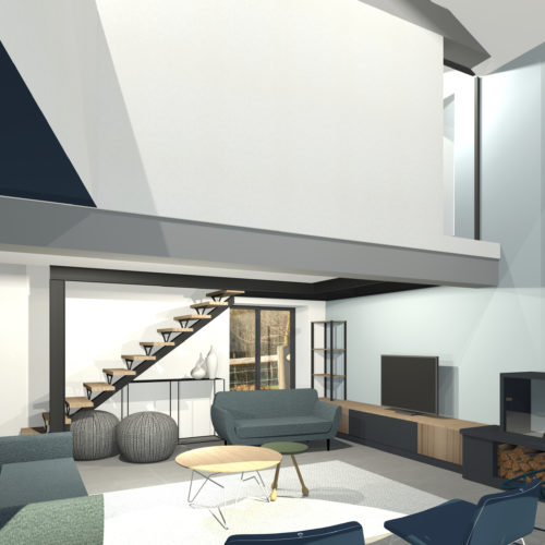 3D salon mezzanine escalier