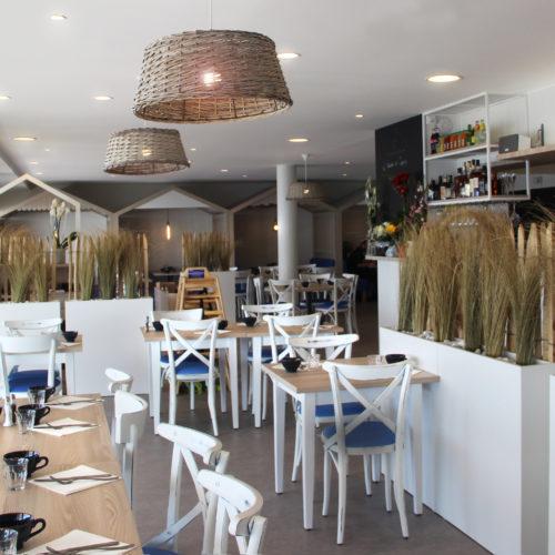 aménagement restaurant crêperie osier bois bleu