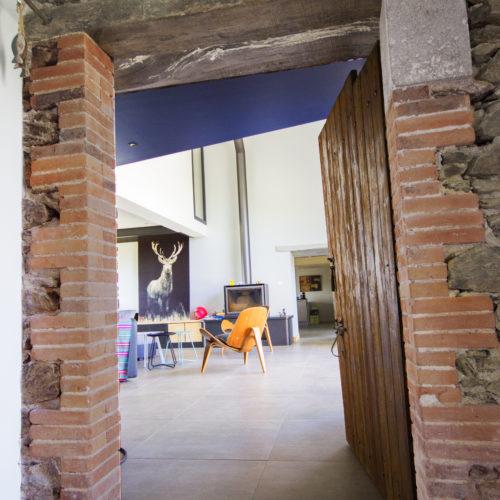 porte brique pierre bois salon moderne et ancien