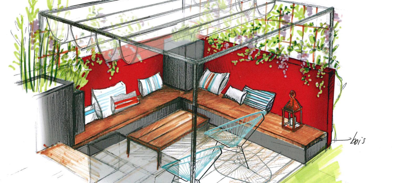 salon pergola mur rouge assise bois