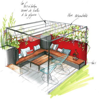 salon pergola mur rouge assise bois