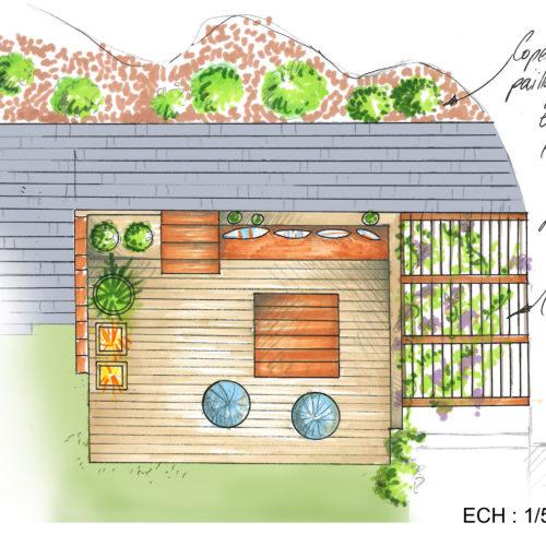 vue plan salon d'été pierre et bois naturel