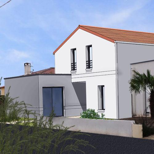 maison contemporaine tuile et terrasse