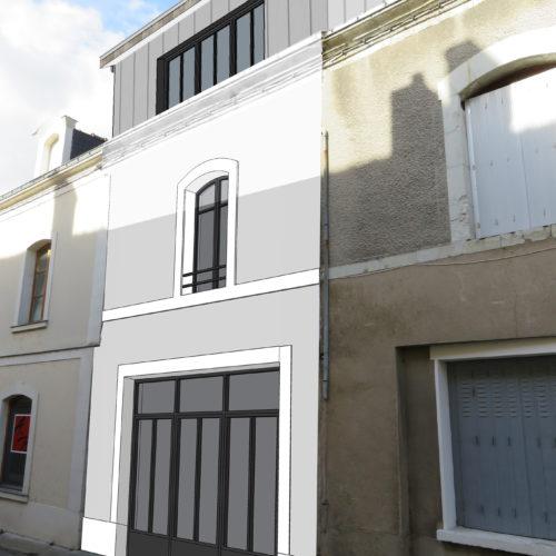Simu façade projetée verrière