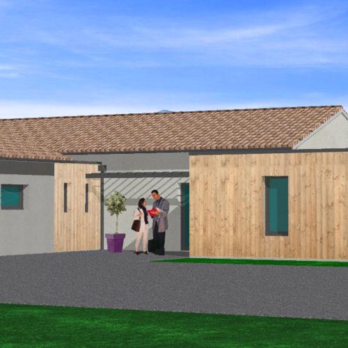 3D maison neuve bardage bois