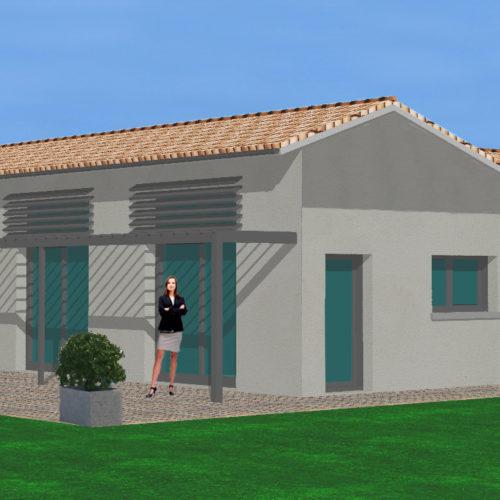 3D maison neuve bardage bois pergola alu