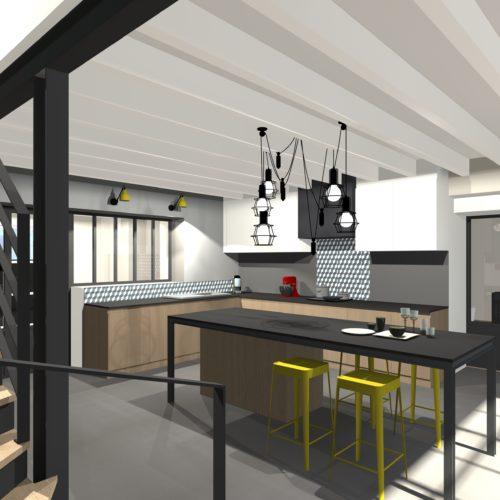3D cuisine verrières poutres