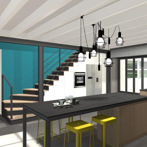 3D escalier îlot cuisine suspensions