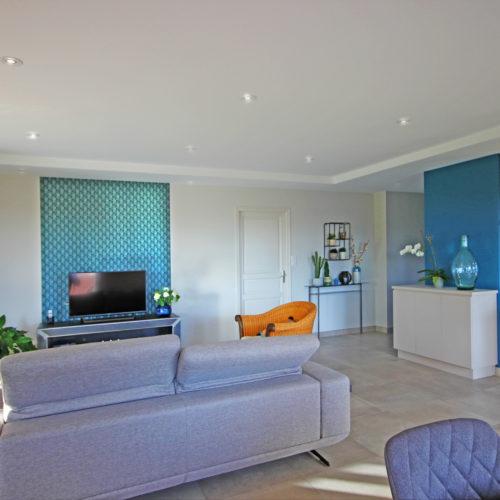 salon tapisserie meuble télé